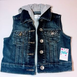 NWT - Justice Girls hooded Jean Vest